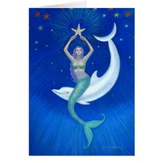 Sirena de la luna del delfín tarjeta de felicitación