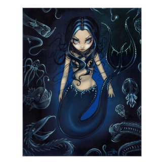 Sirena de la zona abisal de la IMPRESIÓN profunda  Posters