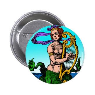 Sirena de Melusine que toca una arpa Pin Redondo De 2 Pulgadas