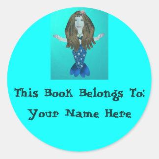 Sirena de Merina, pegatinas de la placa de libro Etiquetas Redondas