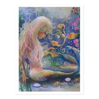 Sirena de pelo rubio postal