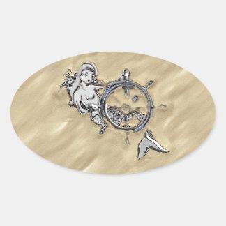 Sirena de plata en la arena colcomanias de óval