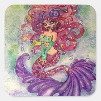 Sirena de Serena Pegatina Cuadrada