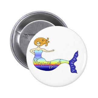 Sirena de Virginia Beach redonda Pin Redondo 5 Cm