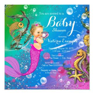 """Sirena debajo de la fiesta de bienvenida al bebé invitación 5.25"""" x 5.25"""""""