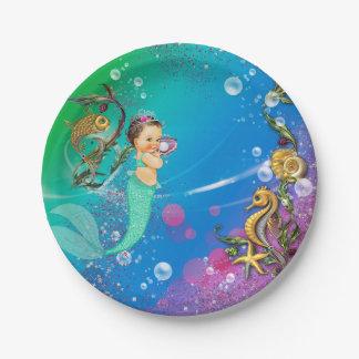 Sirena debajo del mar plato de papel de 7 pulgadas