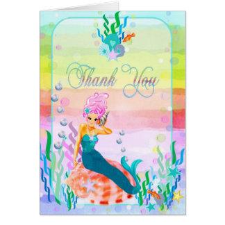 Sirena debajo del mar tarjeta pequeña