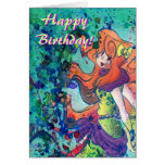 Sirena del agua de la tarjeta de cumpleaños