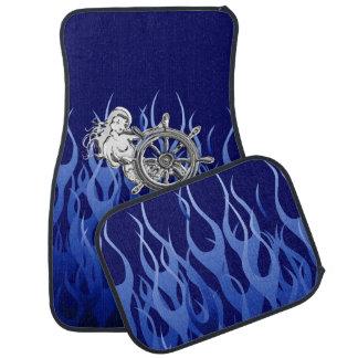 Sirena del cromo en la impresión de las llamas azu alfombrilla de auto