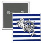Sirena del cromo en rayas náuticas pin