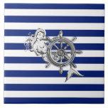 Sirena del cromo en rayas náuticas teja