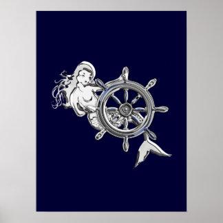 Sirena del cromo póster