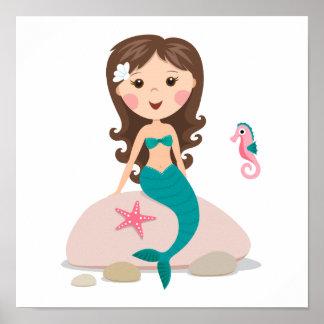 Sirena del dibujo animado con el poster de las est