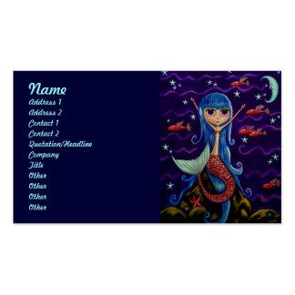 Sirena del pez volador y la luna plantilla de tarjeta de negocio