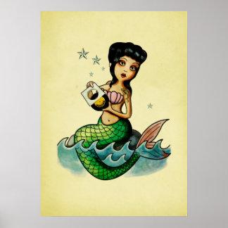 Sirena del reggae de la escuela vieja póster