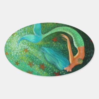 Sirena del salto pegatina ovalada