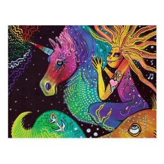 Sirena del unicornio del arco iris postal