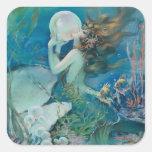 Sirena del vintage con el pegatina de la perla