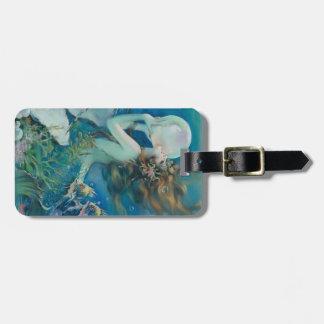 Sirena del vintage con la etiqueta del equipaje de etiquetas maletas