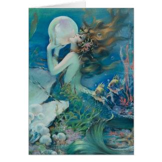 Sirena del vintage con la tarjeta de nota de la pe