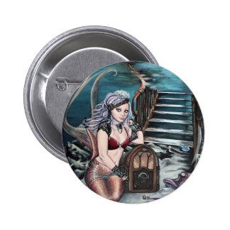 sirena del vintage del steampunk donde usted me pin redondo de 2 pulgadas