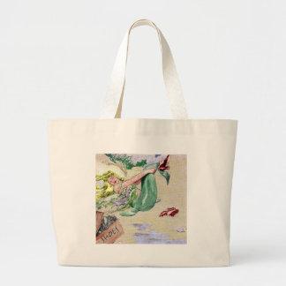 Sirena del vintage en color bolsas lienzo