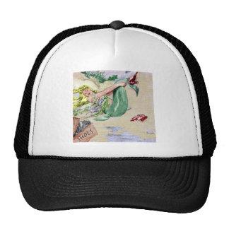 Sirena del vintage en color gorras de camionero