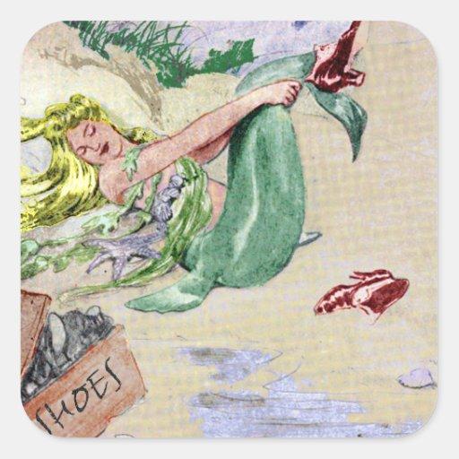 Sirena del vintage en color pegatina cuadrada