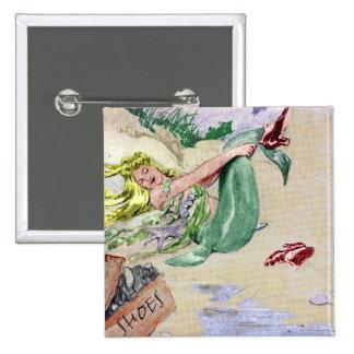 Sirena del vintage en color pin cuadrado