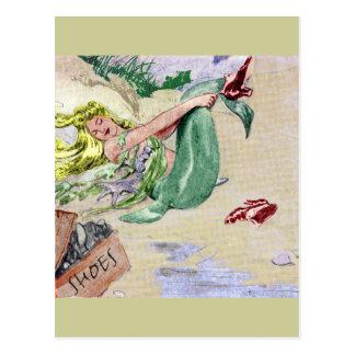 Sirena del vintage en color postal