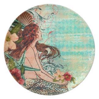 Sirena del vintage por la placa de la costa plato