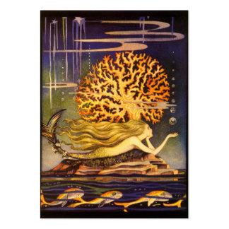 Sirena del vintage tarjetas de visita grandes