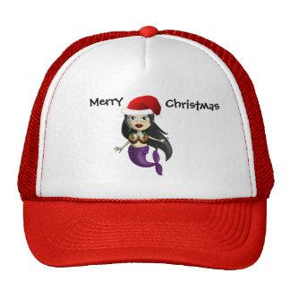 Sirena en el gorra y el navidad Puds de Santa