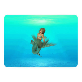 """Sirena en el mar azul profundo invitación 5"""" x 7"""""""