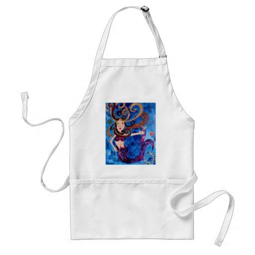 Sirena en el mar con la pintura del arte de los pá delantal
