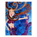 Sirena en el mar con la pintura del arte de los pá membrete personalizado