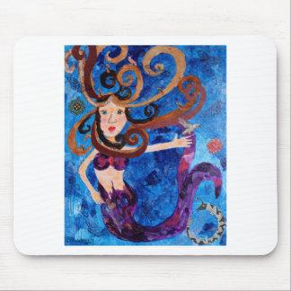 Sirena en el mar con la pintura del arte de los pá mousepads