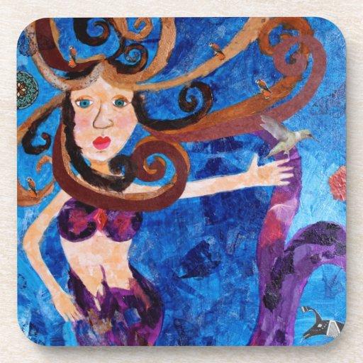 Sirena en el mar con la pintura del arte de los pá posavaso