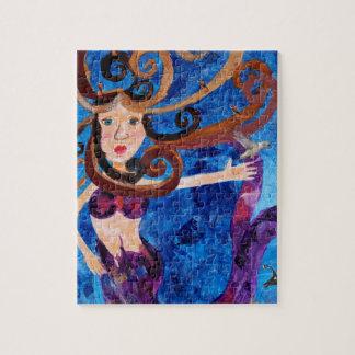 Sirena en el mar con la pintura del arte de los pá puzzles con fotos