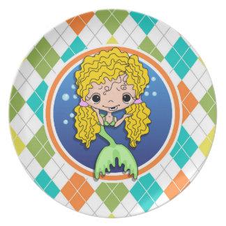Sirena en el modelo colorido de Argyle Plato De Comida