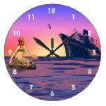 Sirena en el reloj de pared de la puesta del sol