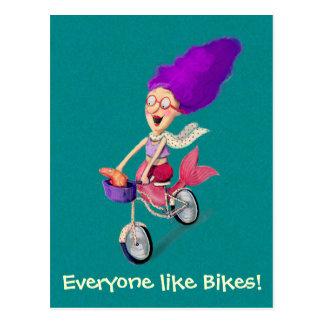 Sirena en la bici tarjetas postales