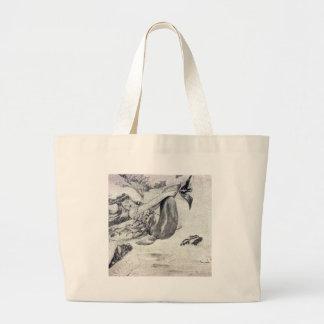 Sirena en la playa bolsa tela grande