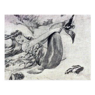Sirena en la playa tarjetas postales