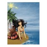 Sirena en la postal de la playa