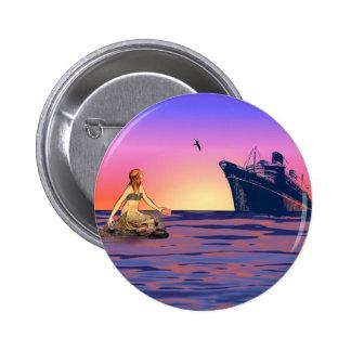 Sirena en la puesta del sol pin redondo de 2 pulgadas