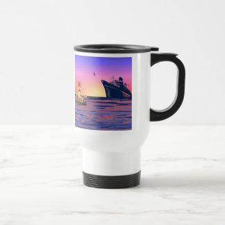 Sirena en la puesta del sol taza térmica