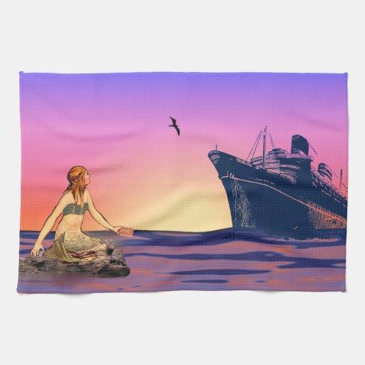 Sirena en la puesta del sol toallas de mano