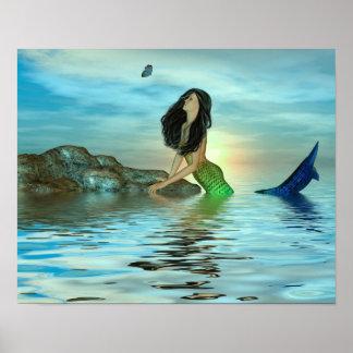 Sirena en la roca posters