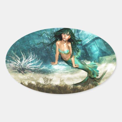 Sirena en los pegatinas del suelo marino calcomania de oval